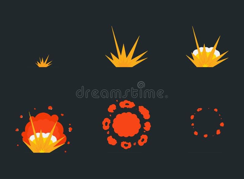 Explodieren Sie Effektanimation mit Rauche Karikaturknall-Explosionsrahmen stock abbildung