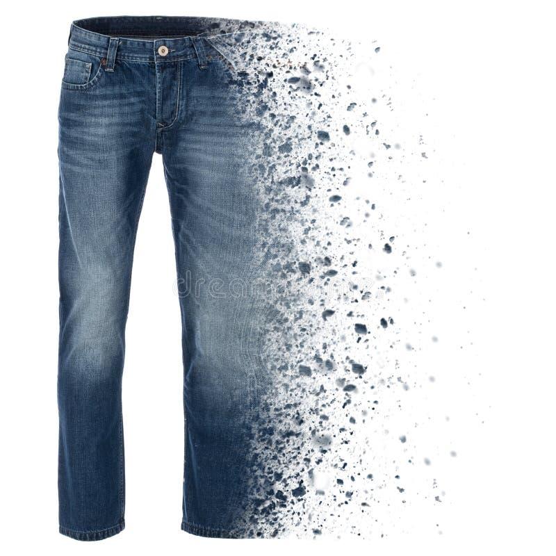 Explodierende Blue Jeans, fotografiert auf Geistmannequin lizenzfreie stockfotos