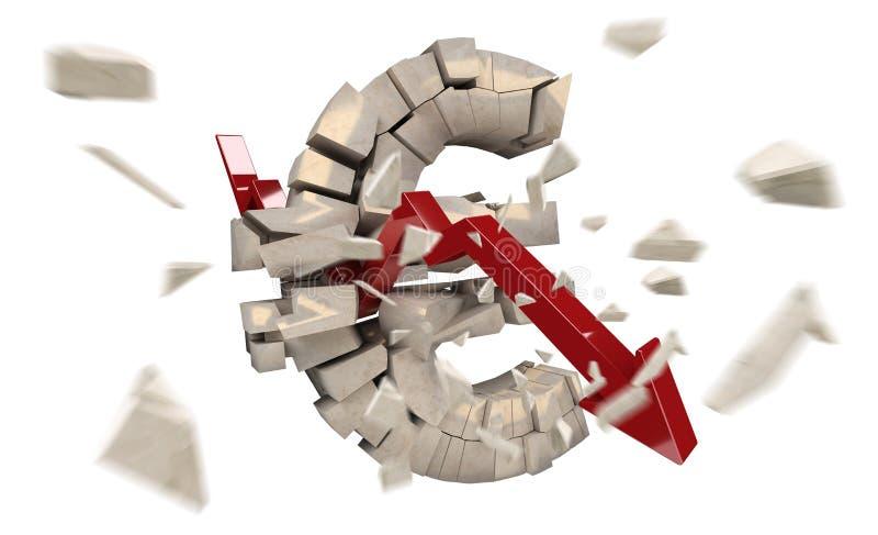 Explodierende Eurowiedergabe der währung 3D lizenzfreie abbildung