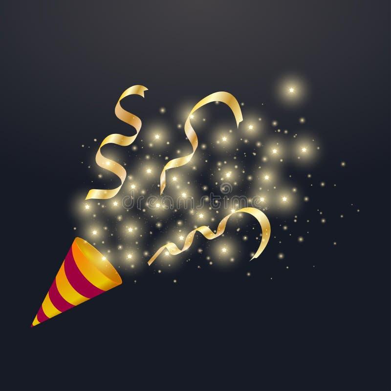 Explodierende festliche Parteipopkornmaschine mit Goldglänzendem Stern, Bandkonfetti, heller Karikaturgeburtstagscracker Vektorab stock abbildung