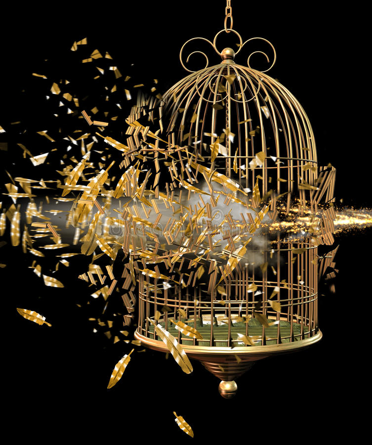 Exploding bird cage. Exploding metal bird cage against a black background stock illustration
