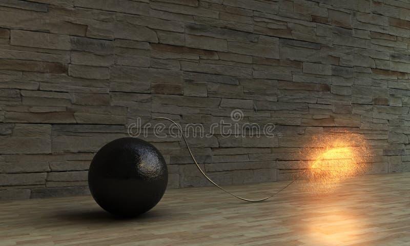 Download Exploding bomb stock illustration. Illustration of metal - 26463378