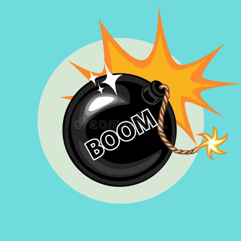 Exploding bomb and boom sign flat icon vector illustration