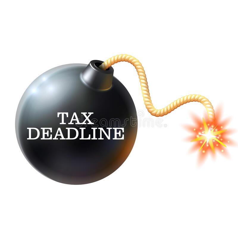 Tax deadline. Exploding bomb labeled tax deadline with burning fuse royalty free stock images