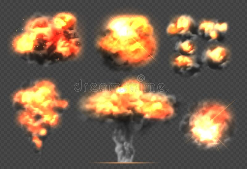 Exploding bomb. Light effect smoke and fireball dramatic explosions clouds vector template stock illustration