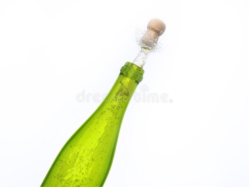 Exploding bottle of champagne stock photography