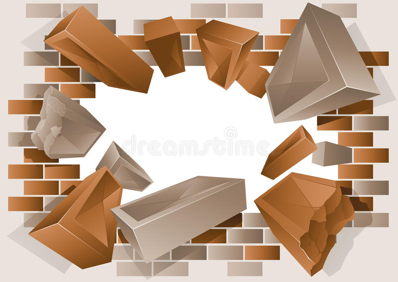 Exploding Brick Wall. Vector illustration of a brick wall with exploding bricks royalty free illustration