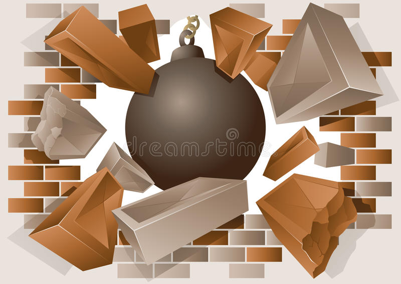 Exploding brick wall and wrecking ball. Vector illustration of a wrecking ball with exploding bricks stock illustration