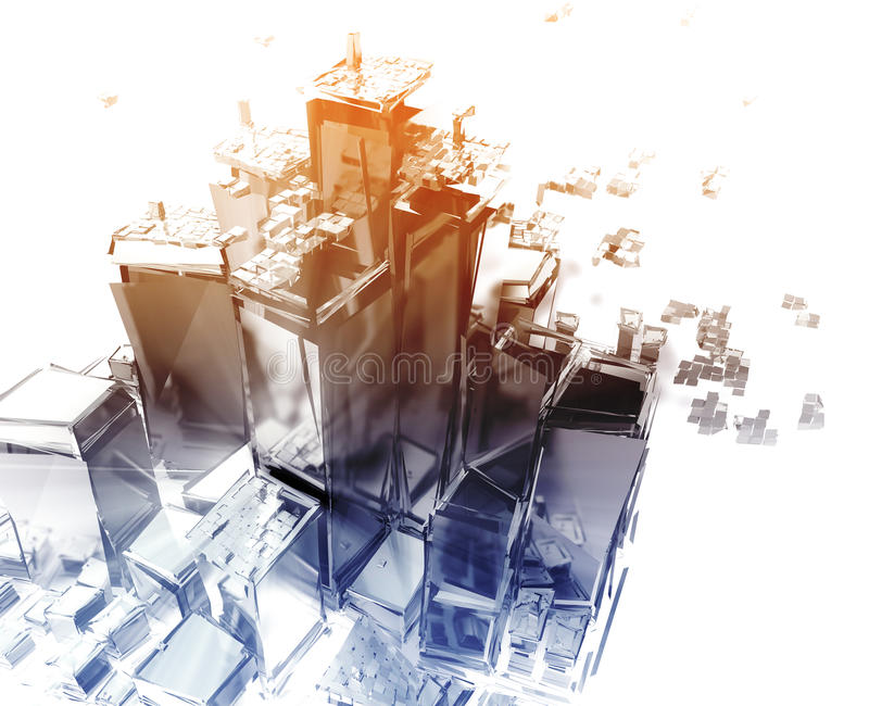 Exploding city. Abstract generic city with exploding breaking apart illustration stock illustration