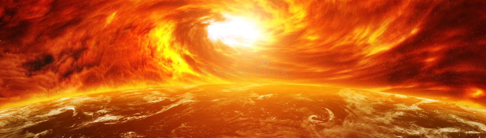 Exploding close to planet Earth 3D rendering elements of this image furnished by NASA royalty free illustration