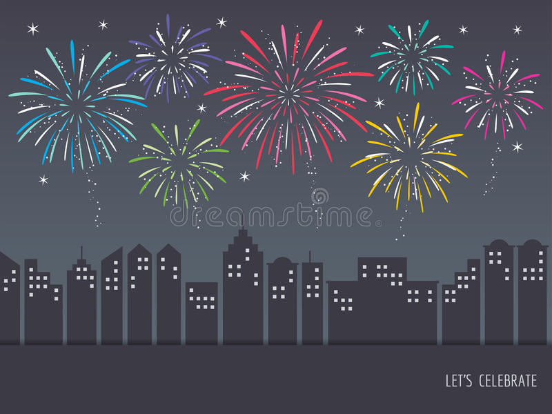 Exploding colorful fireworks over cityscape vector illustration