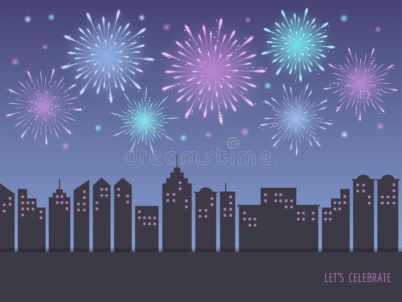 Exploding colorful fireworks over cityscape stock illustration