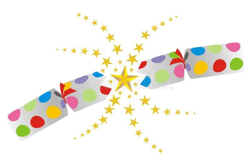 Exploding cracker. Illustration of a christmas cracker exploding open, full of stars vector illustration