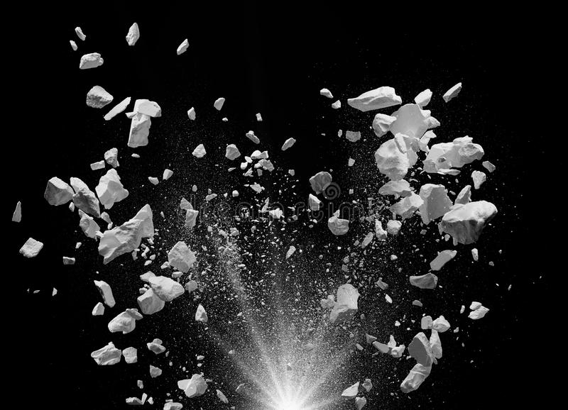 Exploding debris. Split debris caused by explosion against black background royalty free stock images