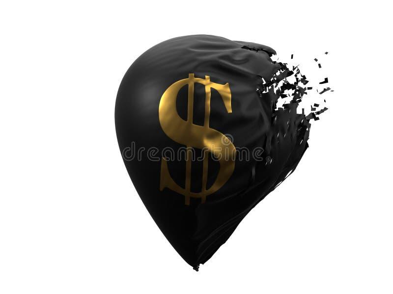 Exploding dollar currency balloon. 3d illustration royalty free illustration