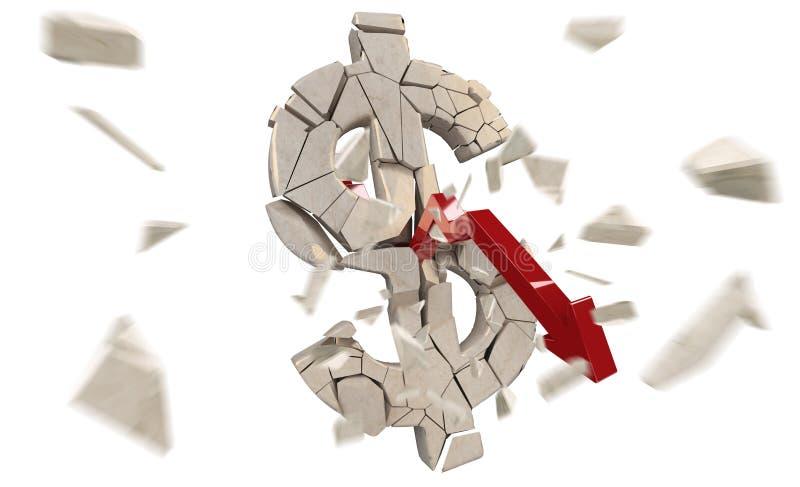 Exploding dollar currency 3D rendering stock illustration