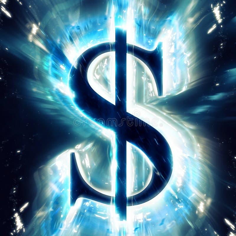 Exploding dollar sign stock illustration