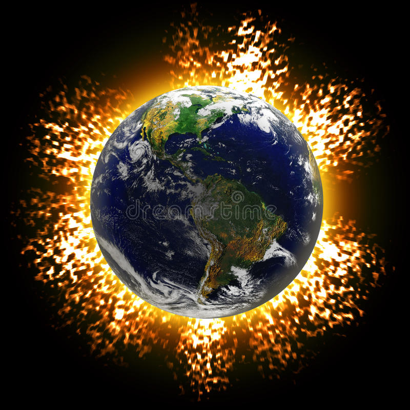 Exploding Earth. Illustration of an exploding planet earth or asteroid collision against the globe. Earth image courtesy of NASA royalty free illustration