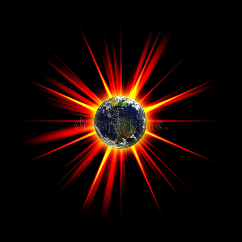Exploding Earth. Illustration of an exploding planet earth or asteroid collision against the globe. Earth image courtesy of NASA stock illustration
