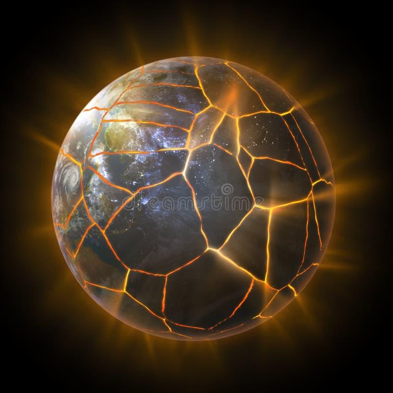 Exploding Earth globe royalty free illustration