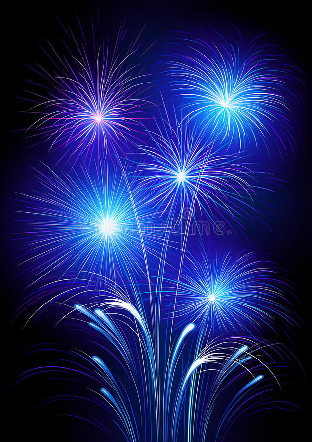 Exploding fireworks. Illustration of neon colored fireworks exploding in night sky royalty free illustration