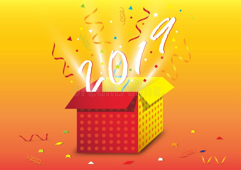 Exploding gift box with confetti, Happy new year concept stock illustration