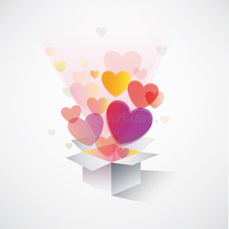 Exploding gift box hearts royalty free illustration