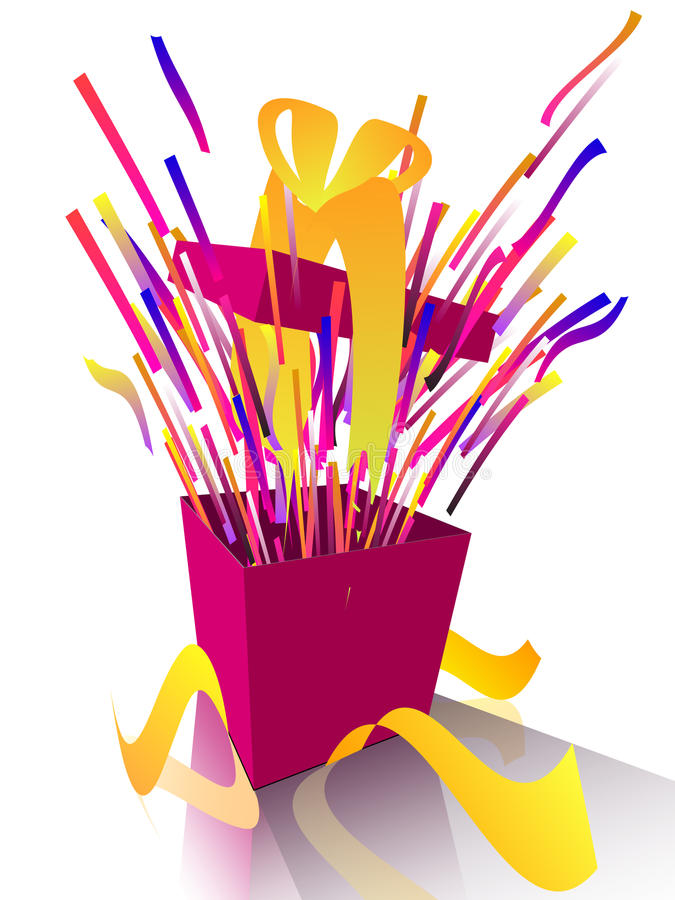 Exploding gift box with yellow ribbon stock illustration