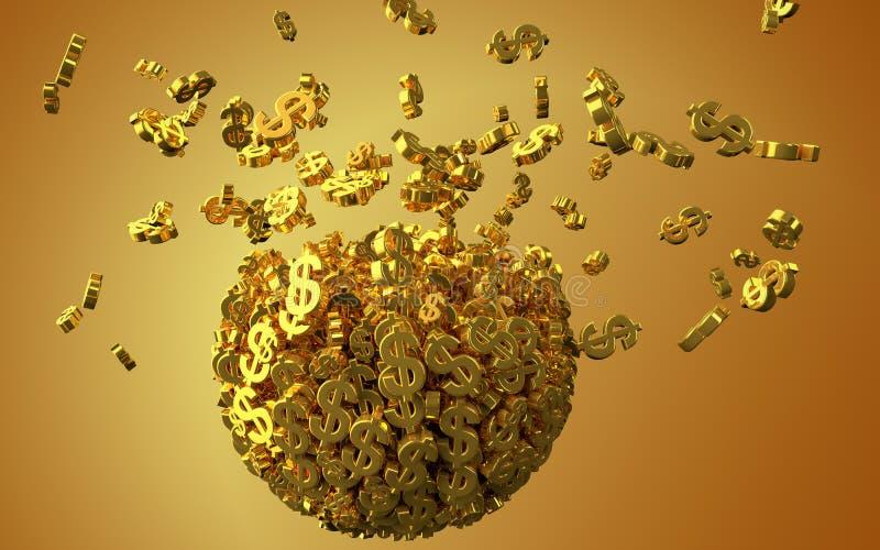Exploding golden dollar symbols sphere vector illustration