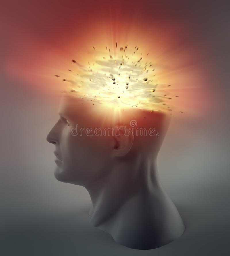 Exploding head. 3D abstract illustration - exploding head vector illustration