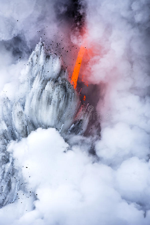 Exploding lava flow in Hawaii stock photo