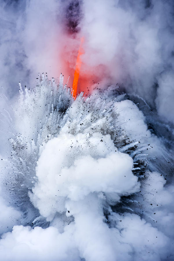 Exploding lava flow in Hawaii royalty free stock images
