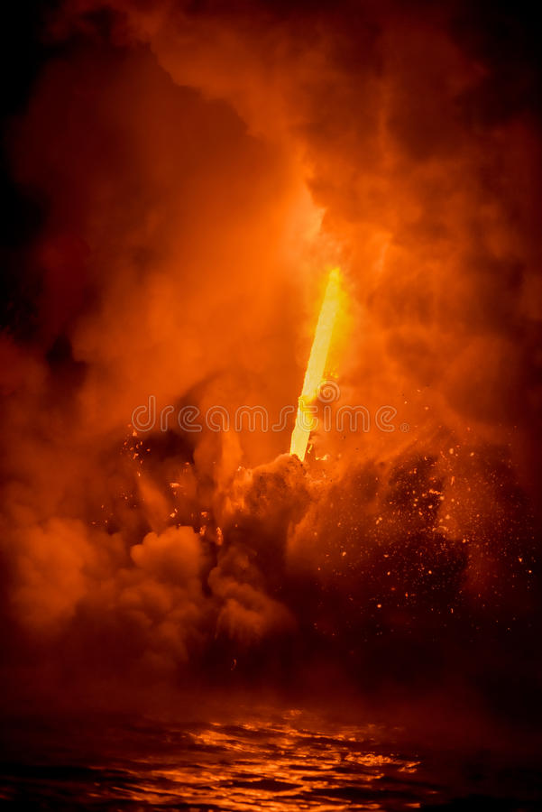 Exploding lava in Hawaii royalty free stock images