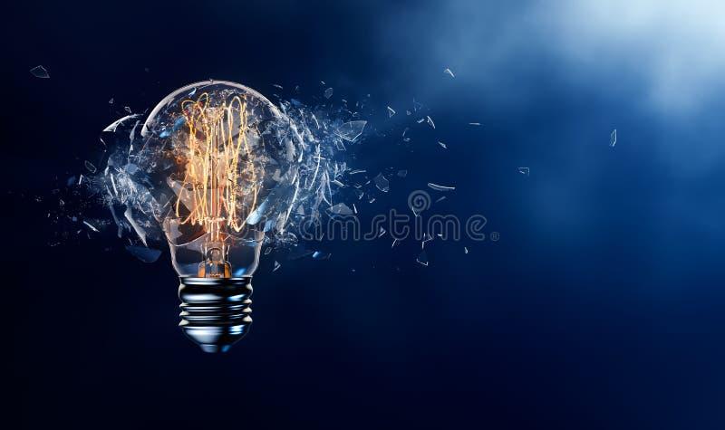 Exploding Light Bulb. On a blue background stock illustration