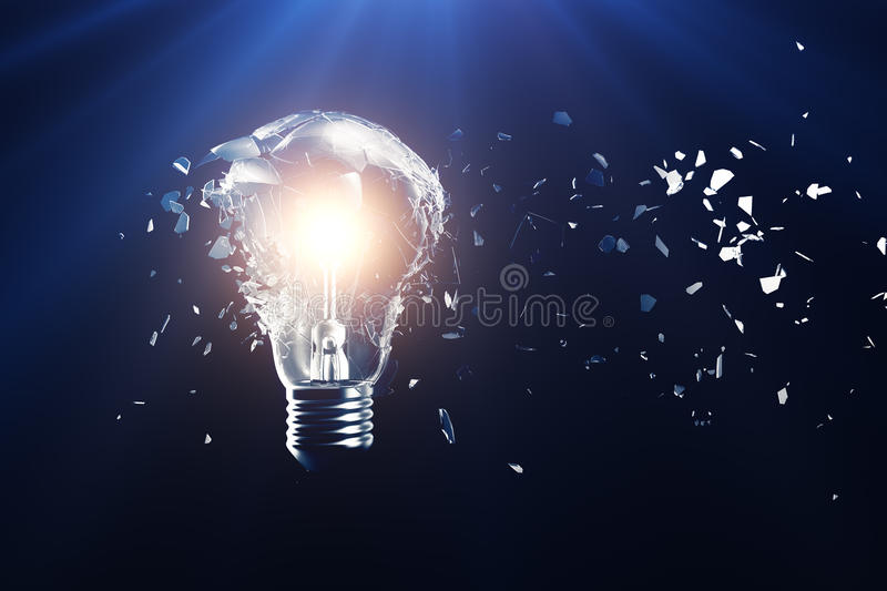 Exploding light bulb on a blue background, with concept creative thinking and innovative solutions. 3D rendering stock illustration