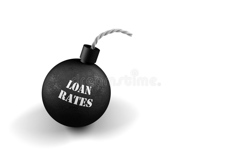 Exploding Loan Rates. Conceptual image for exploding interest rates stock illustration