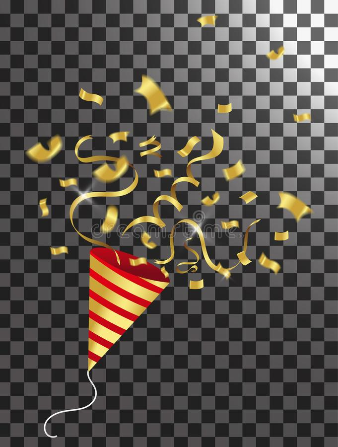 Exploding party popper with confetti and streamer on transparent. Background vector illustration