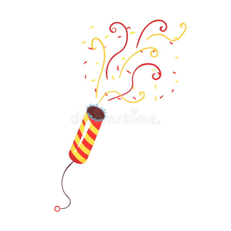 Exploding party popper with serpantin, celebration birthday symbol cartoon vector Illustration. Isolated on a white background stock illustration