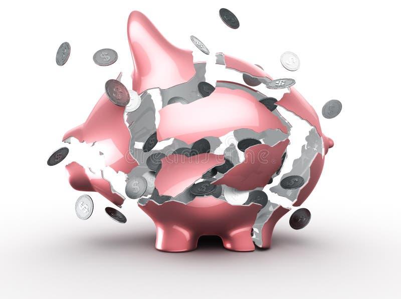 Exploding piggy bank. 3d rendering of an exploding piggy bank royalty free illustration