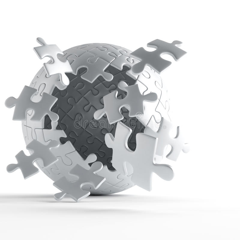 Exploding puzzle ball. Exploding ball of gray puzzle pieces on white background stock illustration