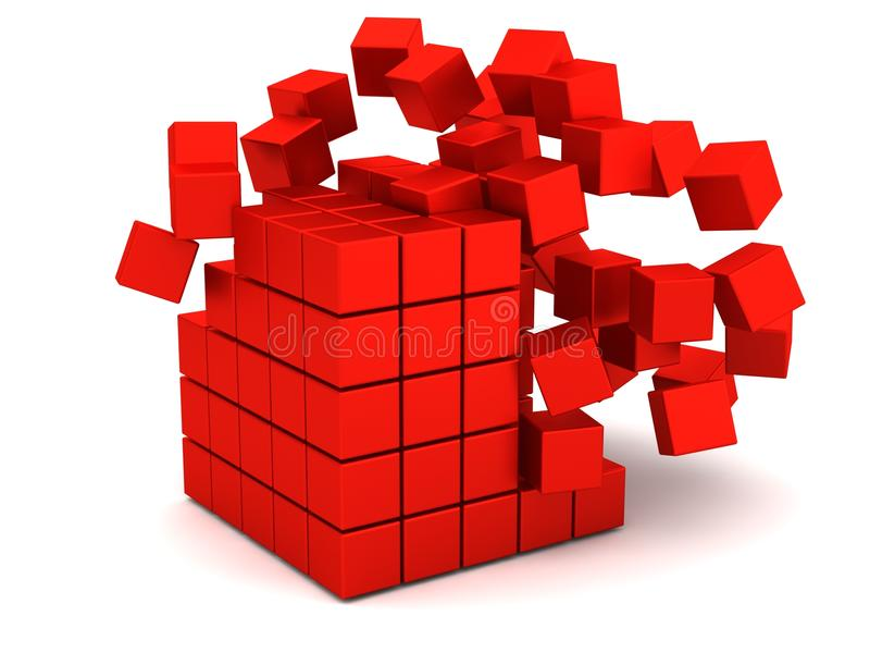 Exploding red boxes. An illustration of exploding red boxes on a white background stock illustration