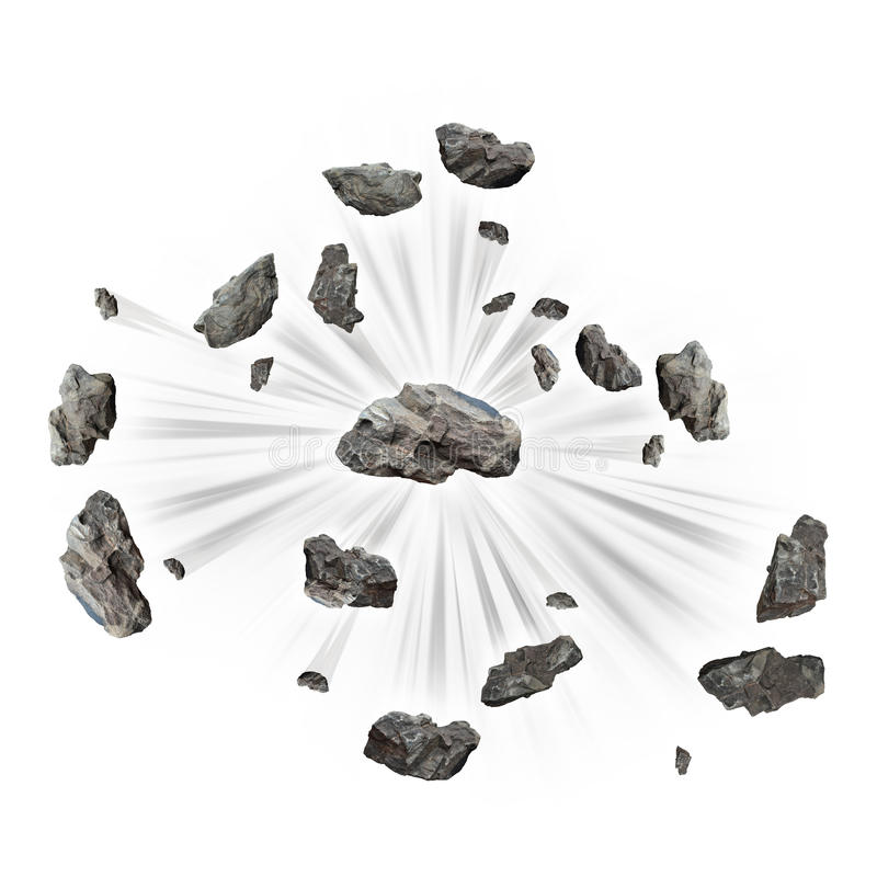 Exploding rock concept 3d render. Exploding rocks with motion lines stock photography