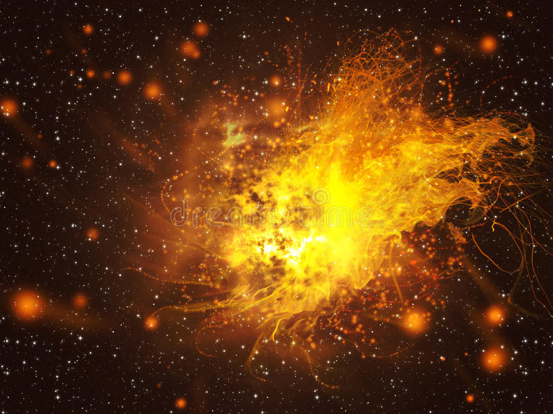 Exploding of Star in Space vector illustration