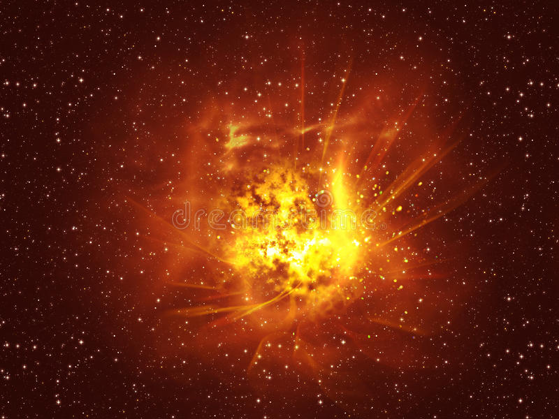 Exploding of Star in Space. Big exploding in the space, abstract science background royalty free illustration