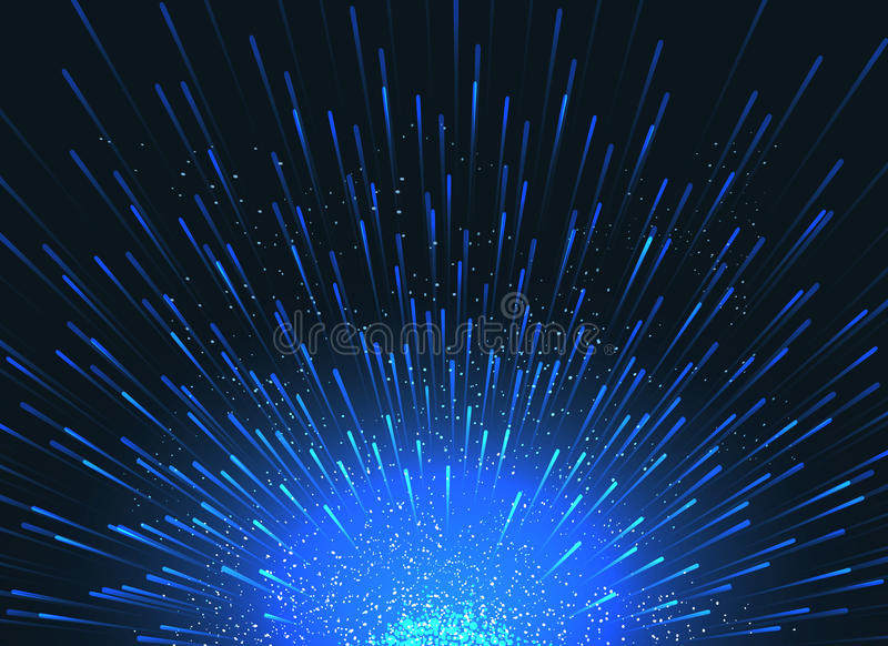 Exploding star in space vector abstract blue background for event poster stock illustration
