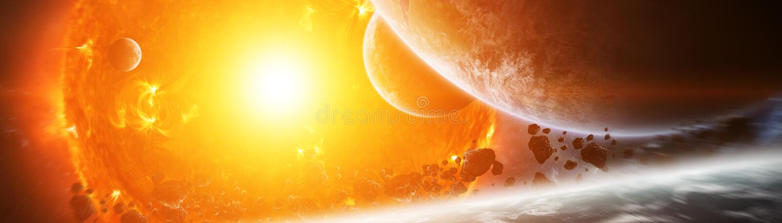 Exploding sun in space close to planet 3D rendering elements of. Sun exploding close to inhabited planets system 3D rendering elements of this image furnished by stock illustration