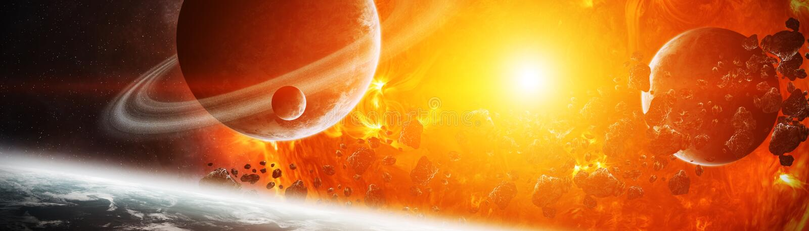 Exploding sun in space close to planet 3D rendering elements of. Sun exploding close to inhabited planets system 3D rendering elements of this image furnished by vector illustration