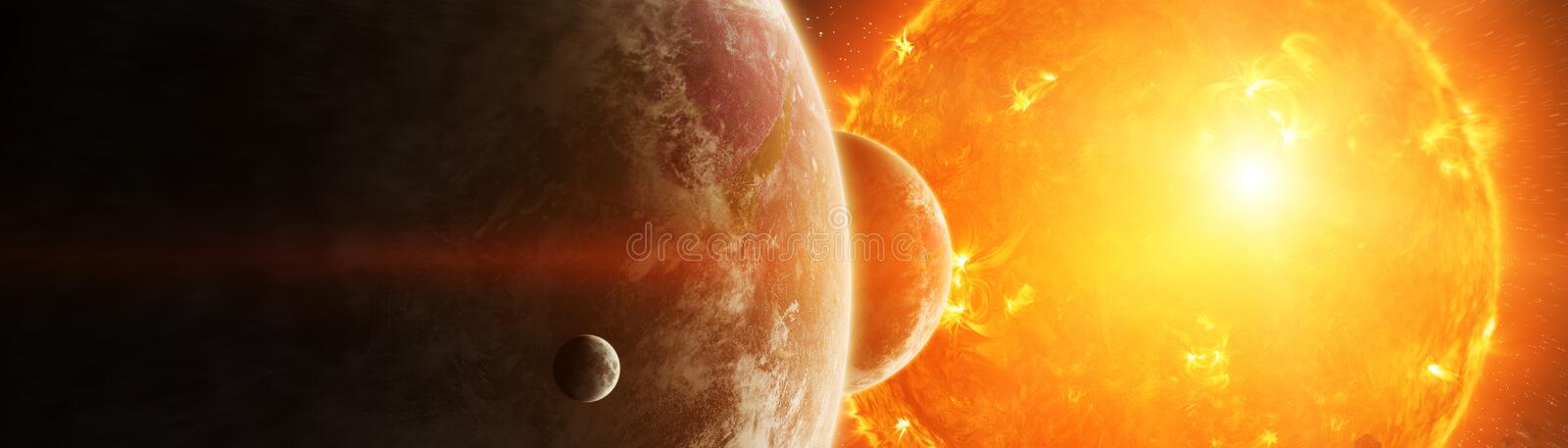Exploding sun in space close to planet 3D rendering elements of. Sun exploding close to inhabited planets system 3D rendering elements of this image furnished by royalty free illustration