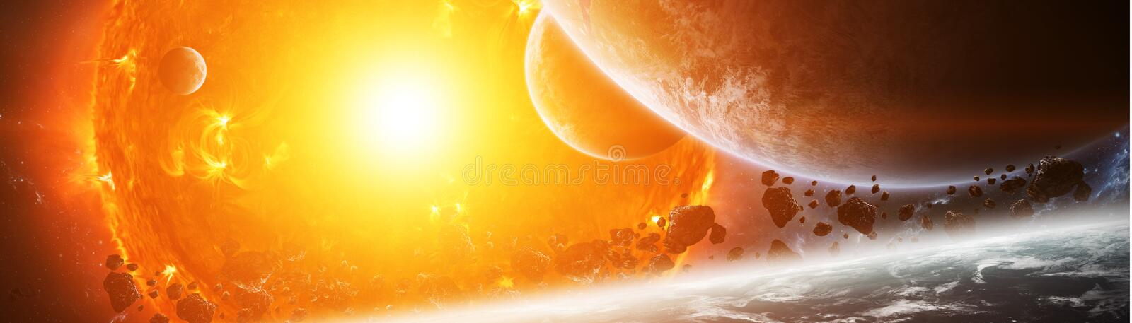Exploding sun in space close to planet 3D rendering elements of vector illustration