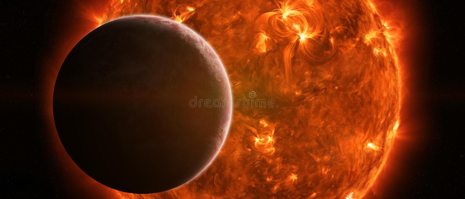 Exploding sun in space close to planet Earth. Sun exploding close to inhabited planet Earth royalty free illustration